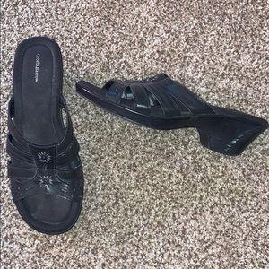 "Croft & Barrow foam sandal 2"" heel ""Jessie Black"""